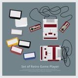 Sistema plano de jugador y de accesorios retros del juego Fotografía de archivo
