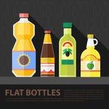 Sistema plano de la botella de la cocina del color del vector Imagen de archivo