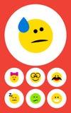 Sistema plano de la cara del icono de objetos agradables, alegres, dormidos y otros del vector También incluye agradable, dormido Foto de archivo