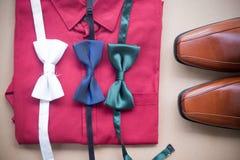 Sistema plano de la endecha de ropa y de los accesorios masculinos Imagen de archivo