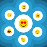 Sistema plano de la expresión del icono de objetos bizcos de la cara, de la sonrisa, alegres y otro del vector También incluye id Fotos de archivo