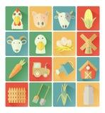 Sistema plano de la granja de los iconos Fotos de archivo