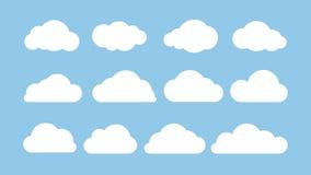 Sistema plano de la historieta de nubes blancas aisladas en fondo azul Concepto abstracto del elemento Ilustración del vector ilustración del vector