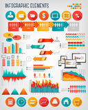 Sistema plano de la plantilla de los gráficos de la información del negocio