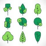 Sistema plano de los árboles del esquema stock de ilustración