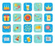 Sistema plano de los iconos de la fiesta de cumpleaños Organización de días de fiesta stock de ilustración
