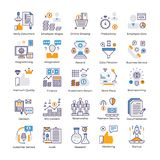 Sistema plano de los vectores del análisis de negocio stock de ilustración