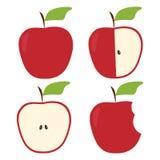 Sistema plano de manzanas Imagen de archivo libre de regalías