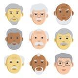Sistema plano de viejos hombres de las caras, avatar, vector libre illustration
