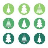 Sistema plano del árbol de navidad del diseño Foto de archivo libre de regalías