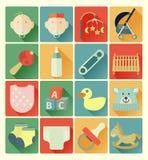 Sistema plano del bebé de los iconos Imagen de archivo libre de regalías