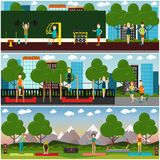 Sistema plano del cartel del vector del concepto del entrenamiento de la calle stock de ilustración