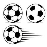Sistema plano del diseño de la bola del fútbol con aislado Imágenes de archivo libres de regalías