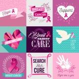 Sistema plano del diseño de la campaña de concienciación del cáncer de pecho stock de ilustración