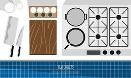 Sistema plano del diseño del objeto, cocina de la profesión del cocinero Fotografía de archivo libre de regalías