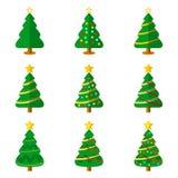 Sistema plano del ejemplo del vector del icono del árbol de navidad Fotos de archivo