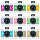 Sistema plano del estilo de cámaras stock de ilustración