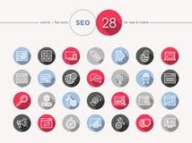 Sistema plano del estilo del esquema de los iconos del web de Seo Fotografía de archivo libre de regalías
