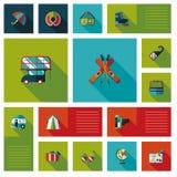 Sistema plano del fondo del ui del viaje Imagen de archivo libre de regalías