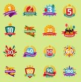 Sistema plano del fondo del diseño de la bandera de la insignia de los números del vector del aniversario del feliz cumpleaños Ic Foto de archivo