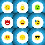 Sistema plano del gesto del icono de poner mala cara, de risa, de ceño fruncido y de otros objetos del vector También incluye la  libre illustration
