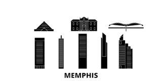 Sistema plano del horizonte del viaje de Estados Unidos, Memphis Ejemplo del vector de la ciudad del negro de Estados Unidos, Mem libre illustration