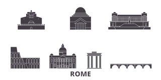 Sistema plano del horizonte del viaje de la ciudad de Italia, Roma Ejemplo del vector de la ciudad del negro de la ciudad de Ital ilustración del vector