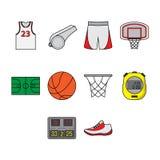 Sistema plano del icono del baloncesto del color Imagenes de archivo