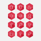 Sistema plano del icono Colección de sitio de alta calidad del esquema Imagen de archivo libre de regalías