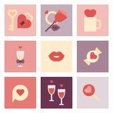 Sistema plano del icono del día de San Valentín Imágenes de archivo libres de regalías
