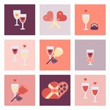 Sistema plano del icono del día de San Valentín Fotografía de archivo
