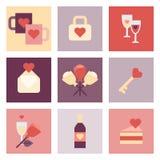 Sistema plano del icono del día de San Valentín Imagen de archivo libre de regalías