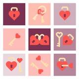 Sistema plano del icono del día de San Valentín Imagenes de archivo
