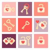 Sistema plano del icono del día de San Valentín Fotos de archivo