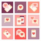 Sistema plano del icono del día de San Valentín Imagen de archivo