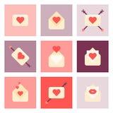 Sistema plano del icono del día de San Valentín Foto de archivo