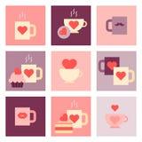 Sistema plano del icono del día de San Valentín Fotografía de archivo libre de regalías