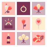 Sistema plano del icono del día de San Valentín Foto de archivo libre de regalías