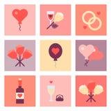 Sistema plano del icono del día de San Valentín Fotos de archivo libres de regalías