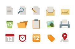 Sistema plano del icono de documentos Fotos de archivo