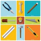Sistema plano del icono de And Equipment Tools del técnico Imagen de archivo