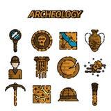 Sistema plano del icono de la arqueología libre illustration