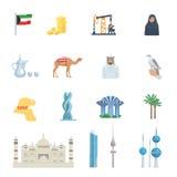 Sistema plano del icono de la cultura de Kuwait Fotografía de archivo libre de regalías
