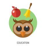Sistema plano del icono de la educación Fotografía de archivo libre de regalías
