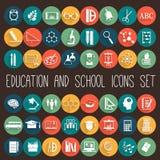 Sistema plano del icono de la escuela de la educación Fotos de archivo libres de regalías
