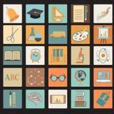 Sistema plano del icono de la escuela de la educación ilustración del vector