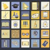 Sistema plano del icono de la escuela de la educación stock de ilustración