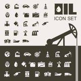 Sistema plano del icono de la industria de petróleo Imagen de archivo libre de regalías