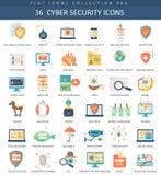 Sistema plano del icono de la seguridad cibernética del vector Diseño del estilo elegante Imagen de archivo