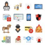 Sistema plano del icono de la seguridad de Internet Foto de archivo libre de regalías